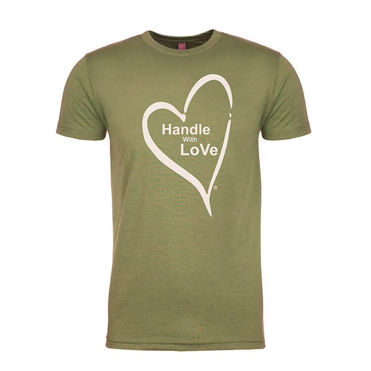 Original Tee: Military green with white heart