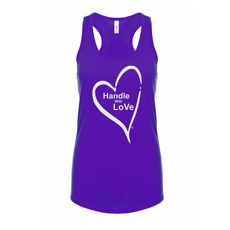 Racerback Tee: Purple with white heart