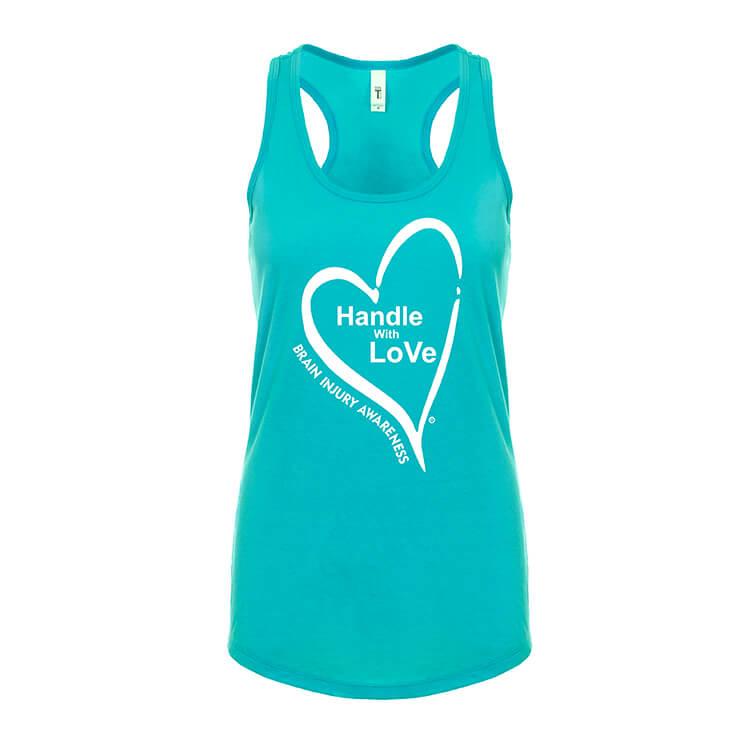 Racerback Tee: Tahiti blue with white heart