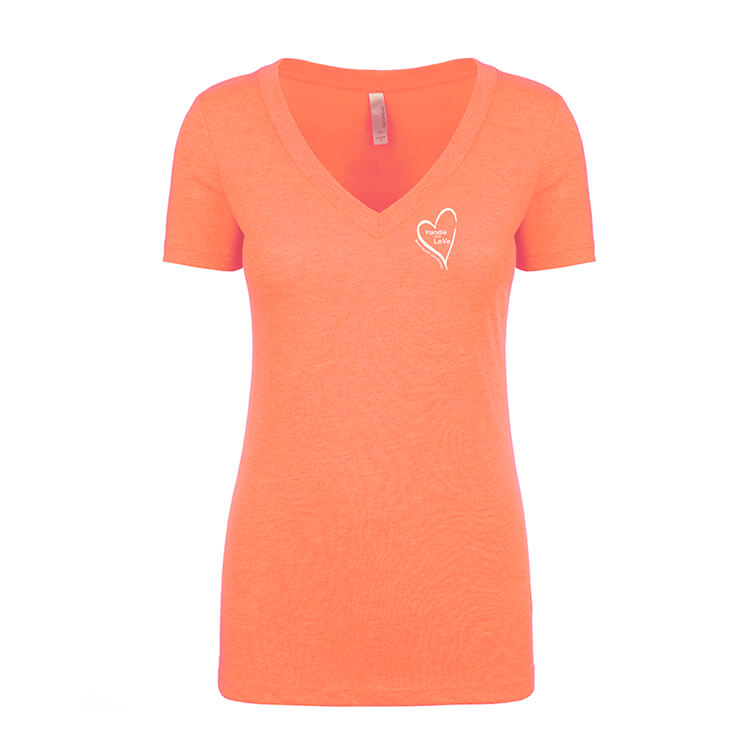 V-Neck: Vintage coral with white heart